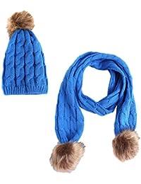 Mxssi Baby Hat Bufanda para niños Cálidos Gorros de invierno Grueso Plus  Sombrero y bufanda de a22acb8575e