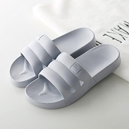 DogHaccd pantofole,Raffreddare giapponese pantofole estate coppie femmina ciabatte da bagno antiscivolo per pavimenti di spessore home soggiorno con gli uomini e le ciabatte da bagno Grigio2