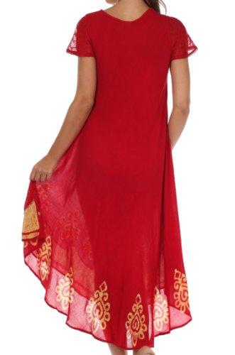 Sakkas Batik Hindi Cap Sleeve Caftan Dress / Cover Up Rosso / Oro