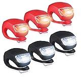 Yooger Mini LED Silikonleuchte, Batterie Geladen Radfahren Frontlichter Rücklicht Motorrad Licht, Wasserdicht, 6er Set (Rot+Schwarz)