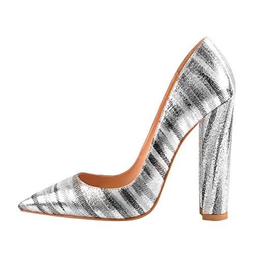 Onlymaker Damen Spitz High Heels Kleid Party Pumps 43 EU Block Heel Classic Pump