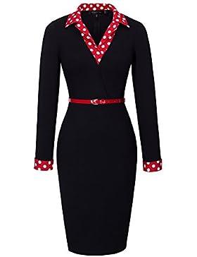HOMEYEE Frauen elegante lange Hülse der roten Topf-Kragen-dünne Hautenges Formale Weinlese -Kleid B334
