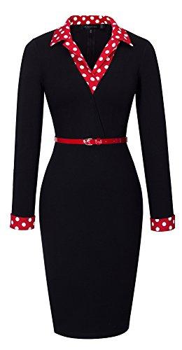 HOMEYEE Frauen elegante lange Hülse der roten Topf-Kragen-dünne Hautenges Formale Weinlese -Kleid B334(EU 38 = Size M,Schwarz) (Amazon Formale Lange Kleider)