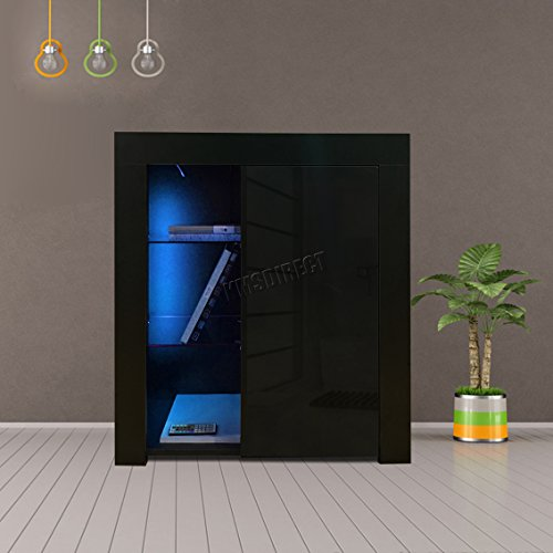 FoxHunter Modern High Gloss Matt Cabinet Bookshelf Sideboard Cupboard Unit Remote Control LED Lights PB Home Living Room Kitchen PHC01 Black New