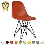 Decopresto 1 x Designer-Stuhl Beine:Steel Black Vernis Stitz:Dunkelorange DP-DSRB-OV-1P