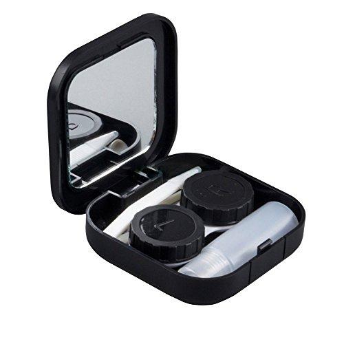 Bluelans® Reise kompakte Kontaktlinsenbehälter Aufbewahrungsbehälter (Schwarz)
