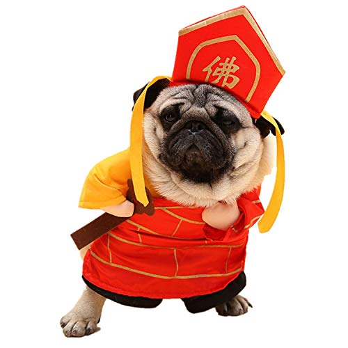 XUMING Halloween Hund Katze Kostüme Komfortable, lustige chinesischen traditionellen Stil für Festival Party Dekorationen Cosplay,M (Bilder Von Verschiedenen Traditionellen Kostüm)