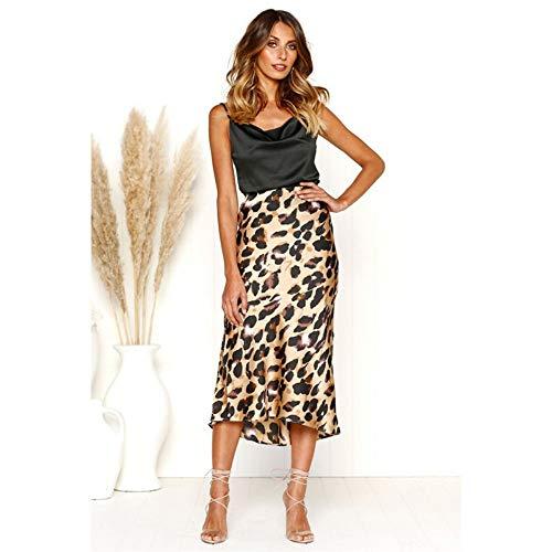 HEHEAB Rock,Trendige Frauen Kleidung Leopard Print Damen Hohe Taille Figurbetontes Casual Baumwolle Slim Röcke EIN Stück, L - Baumwolle Leopard Rock