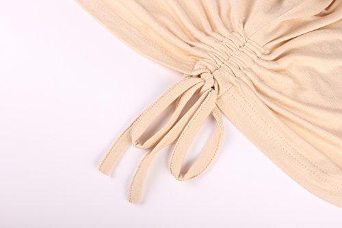 ReliBeauty Damen Rundausschnitt T-shirt Kurzarm Volant Falten Verstellbare Bände Tunika Tops Beige