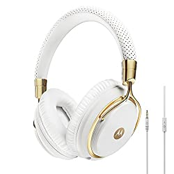 Motorola Pulse M Series Over-Ear Wired Headphone with In-Line Microphone - White/Gold