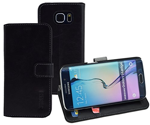 Samsung Galaxy S6 Edge + Plus (SM-G928F) - Suncase Book-Style (Slim-Fit) Ledertasche Leder Tasche Handytasche Schutzhülle Case Hülle (mit Standfunktion und Kartenfach) schwarz