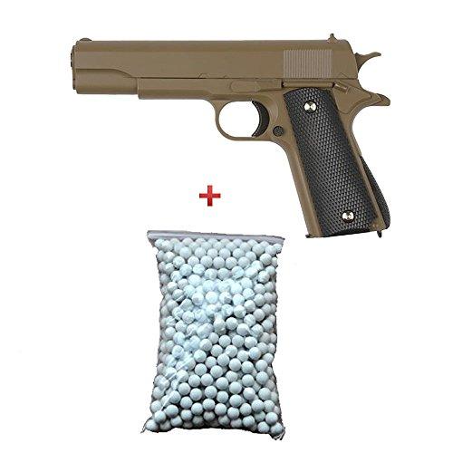 Galaxy Pack de regalo de pistola para Airsoft M1911, de metal color desierto, 0.5 J, 6 mm de resorte, con 600 balines gratuitos - G13D