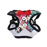 Crylee Hundeweste Brustgurt Abendkleid Set Print Fliege Weiches Atmungsaktives Haustierseil mit Griff Verstellbare Hundeweste für Outdoor-Training (L, Schwarz)