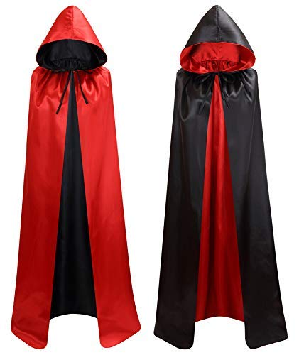Kostüm Rote Und Schwarze - Makroyl Unisex Umhang mit Kapuze für Halloween, Weihnachten, Hexe, Party, Vampir, Cosplay, Kostüme Gr. Large, schwarz/rot