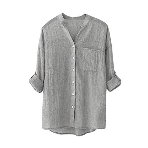 VEMOW Heißer Verkauf Mode Frauen Damen Sommer Herbst Freien Baumwolle Solide Langarm-Shirt Beiläufige Lose Bluse Button-Down Tops (EU-46/CN-4XL, Grau) (Button-down-shirt Kragen, Punkt)