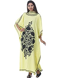 Odishabazaar Crushed Cotton Kashmiri Kaftan With Aari Embroidered By Hand (yellow Black)