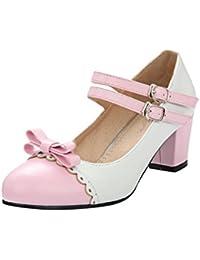 Damen Süß Schleife Lackleder Kitten Heel Niedrig Pumps (34, Schwarz) Mee Shoes