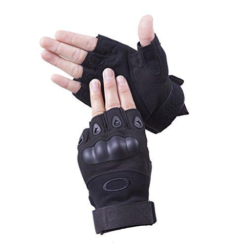 Brudergo Herren Taktische Handschuhe fingerlos Handschuhe Fahrradhandschuhe Motorrad Handschuhe outdoor sport Handschuhe Fitness Handschuhe Army Gloves Ideal für Airsoft, Militär,Paintball,Airsoft, Jagd(Schwarz-Fingerlos,XL)