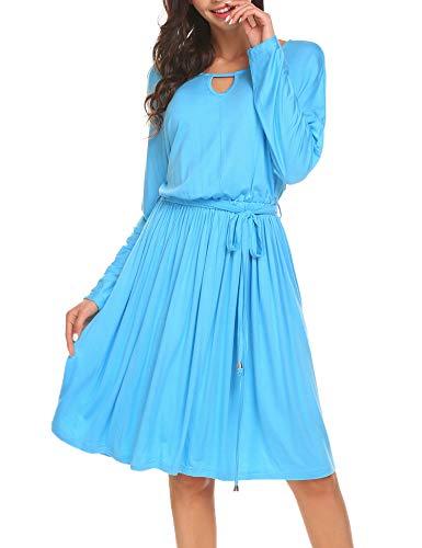 Parabler Damen Sommer Kleider Casual kielang A Linie Partykleid Freizeitkleid mit Binden Blau XL - Kordelzug In Der Taille Binden