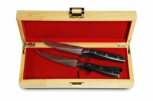 Stallion Damastmesser - Zwei Steakmesser aus Damaststahl in edler Geschenkbox - das ideale Geschenk für alle Freunde schöner Messer