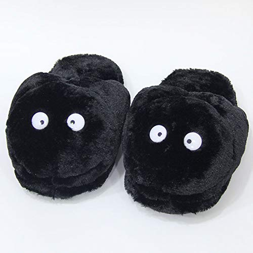 NIDAYE Chinchilla Plüsch Hausschuhe Chinchilla Bus warme Baumwollschuhe Miyazaki Chunlong Katze schwarz Holzkohle Hausschuhe-black-Onesize35-42yards