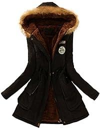 7c1022ef78e66 FNKDOR Manteau Femme Chaud Parka Hiver Fourrure avec Capuche Militaire Style