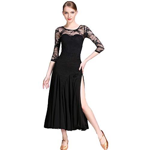 CPDZ Damendämmerin Schwarze Spitzenkragen Lyrical Latin Ballet Dance Rock Evening Cocktail Party Kostüm Größe S M L XL - Für Erwachsene Schwarz Flapper Kostüm Plus