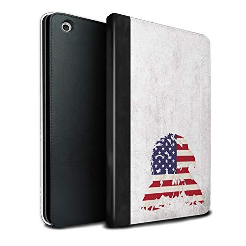 eSwish PU-Leder Hülle/Case/Brieftasche für Apple iPad Mini 1/2/3 Tablet/Stars & Stripes American Eagle Muster/USA Amerika Stolz Kollektion -