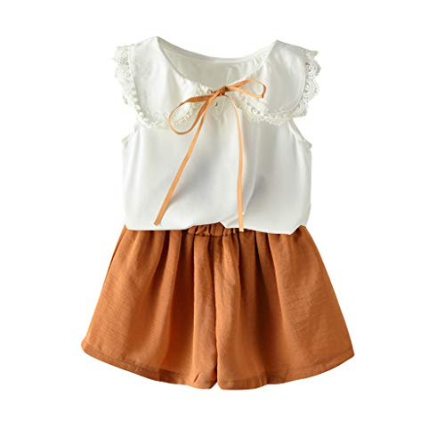 Julhold Sommer Kleinkind Baby Mädchen Elegant Einfach Ärmellos Solide Spitze Baumwolle Slim Tops + Solide Shorts Outfit 1-5 Jahre -