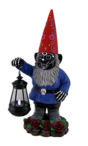 C/O Light of the Dead schwarz Sugar Skull Garden Gnome Solar Laterne Statue 16in. (Eintrag Laterne)