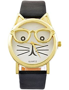 MJartoria Damen Armbanduhr Quarz Uhr Modeschmuck PU Lederarmband Mode Design Katze Muster Schwarz