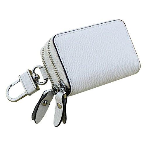 esdrem Unisex Echtes Leder Schlüssel Fall Halter Doppelreißverschluss Auto Schlüsselanhänger Geldbörse COIN weiß (Fällen Schlüsselanhänger)