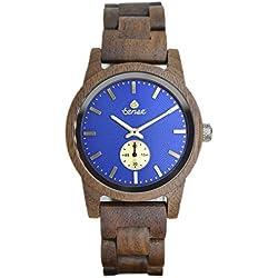 TENSE Premium // Hampton - Walnussholz - Herren Holz-Uhr B4700W-BL