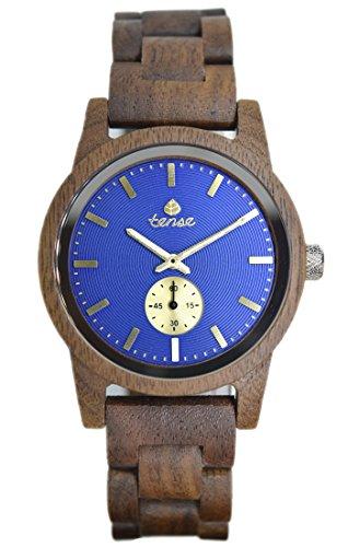 Hampton Holz (TENSE // Die Holzuhr - Mens Hampton made in Canada Walnussholz - blaues Ziffernblatt - Herren-Uhr - Holz-Uhr B4700W-BL)