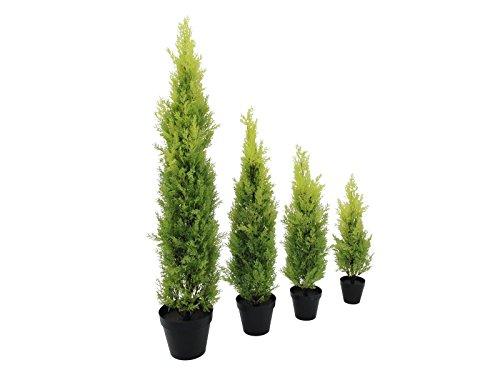 artplants Künstliche Zypresse Spring im Dekotopf, 120 cm – wetterfest – Künstlicher Zeder/Künstliche Konifere