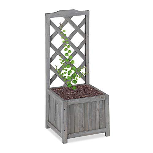 Relaxdays Piante con Graticolato Impermeabile Legno per Balcone Giardino Vaso 20 l e Griglia 90 Grigio m