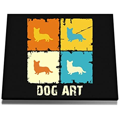 Teeburon Cardigan Welsh Corgi DOG ART POP ART Tela muro arte 12 x 8 (Welsh Corgi Dog Arte)
