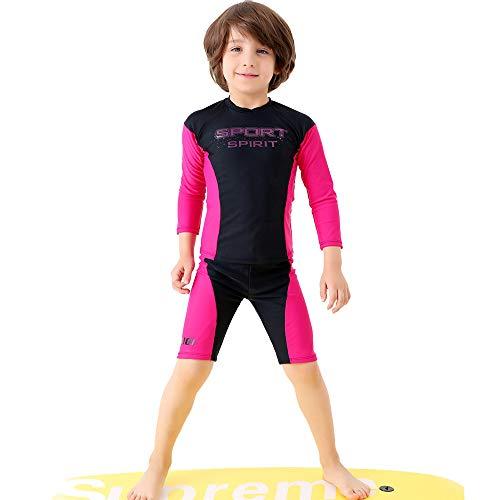 Kinder Mädchen Badeanzug Kinder Jungen 2 stücke Badeanzug Langarm Shorts Hose UV Sonnenschutz Bademode Schnell Trocknend Surfen Outfits Neoprenanzug 2-12 Jahre Netter bunter Schwimmen-Kostüm-Badeanzug
