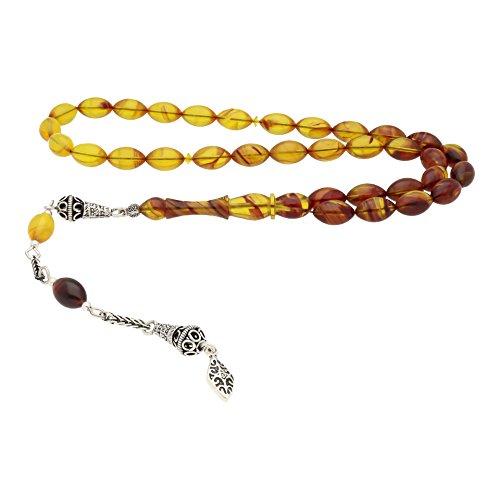 AQILA Gebetskette mit Ornament Quaste aus 925 Silber Handarbeit bernsteinfarben T13