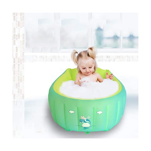 YAAVAAW Inflatable Baby Bathtub,Infant Shower Tub Anti-Slip Shower Basin,Toddler Bathing Seat Mini Swimming Pool Foldable Travel Bath Tub Shower Basin with Soft Cushion Central Seat(for 0-3 Years) 3