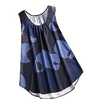CRYYU Women's Sleeveless Casual Loose Plus Size Polka Dot Print Tank Top Shirts Black 5XL