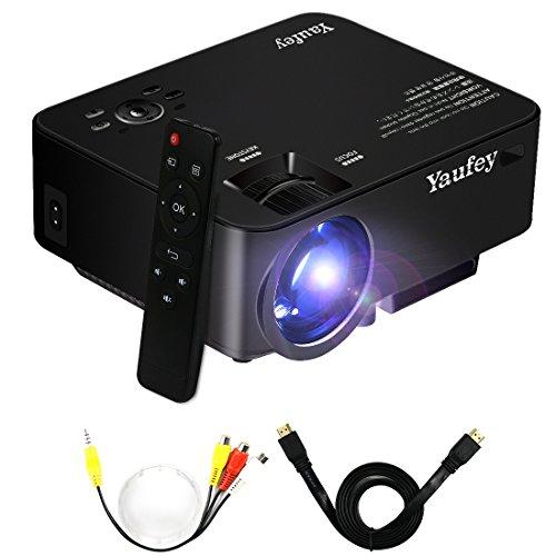 Yaufey 1500 lumens mini-projecteurs , home cinéma projecteur LCD LED portable avec salle PC portable USB / SD / AV / poche entrée HDMI projecteur Beamer pour le jeu vidéo vidéo projecteur Home Entertainment, Noir