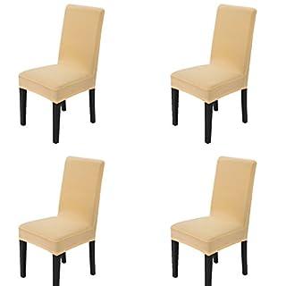 Maikehome, 4-teiliges Set aus unifarbenen Stuhlhussen, mit Stretch, abnehmbar und waschbar, für Hotels, Esszimmer, Feiern, Küche, Bar, Restaurant, Hochzeit oder Party Champagne Color