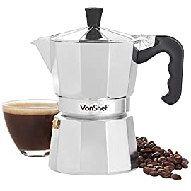 VonShef 6/12 Cup Chrome Aluminium Espresso Maker – Includes Replacement Gasket and Filter