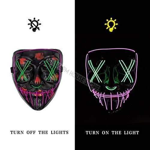 WSJMIANJU Halloween-Maske Halloween-Maske LED-Maske Leuchtende Party-Masken Neon Maska Cosplay-Wimperntusche Horror-Wimperntuschen Glow In Dark Masque V für Vendettalila und grün -