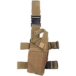 Funda de polaina tactica - TOOGOO(R)Funda de polaina tactica de caza al aire libre bolsa envolvente de pierna de pistola de muslo H10155 accesorios de viaje de color caqui