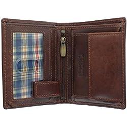 Floren WINDSOR Kollektion Leder Bi Fold Wallet 7037 Brown