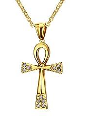 Idea Regalo - Vnox gli uomini sono le donne,ha detto che gioielli di cristallo pendente amuleto acciaio inox egiziano ankh croce collana d'oro,catena gratis
