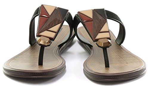 Grendha Brasil Treasure Thong Femme Flip Flops Black