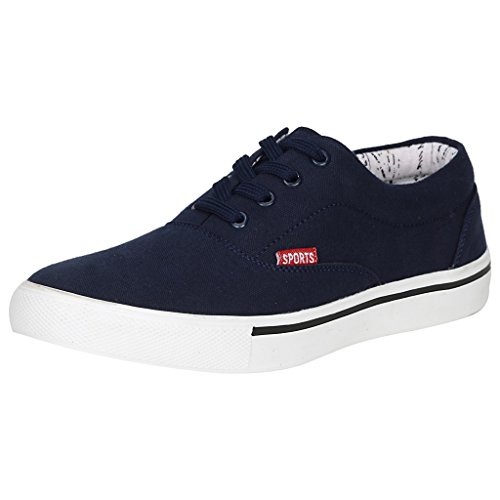 Kraasa Men's Navy Canvas Sneakers- 8